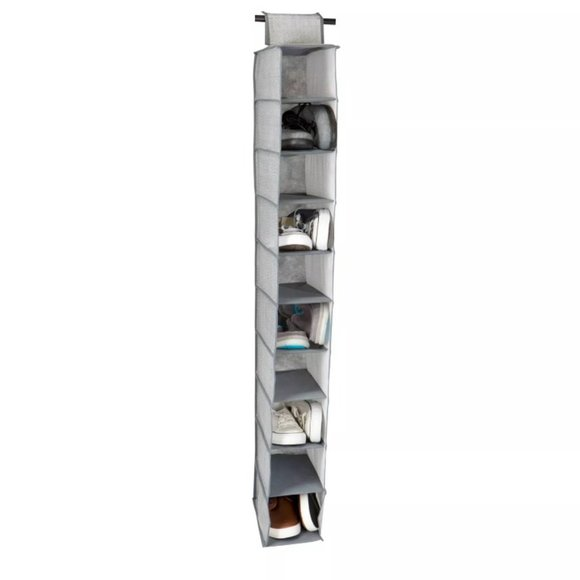 Shoe organizer hanging 10 shelf over the rod space